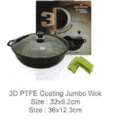 Queen Sense 3D PTFE coating Jumbo Wok with Glass Lid 32cm